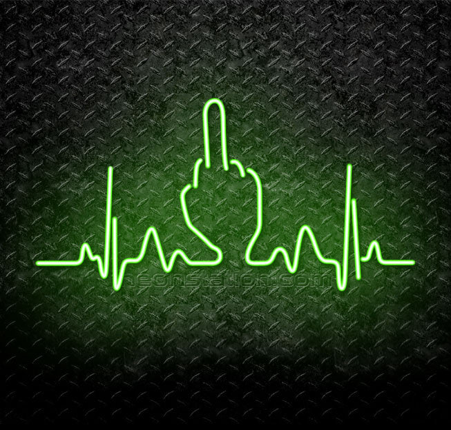 Heartbeat Cardiogram Middle Finger Fuck You Neon Sign