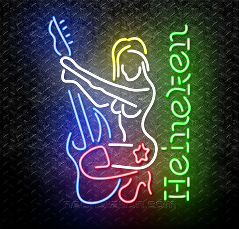 Heineken Guitar Lady Neon Sign