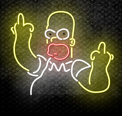 Homer Simpson Middle Finger Neon Sign