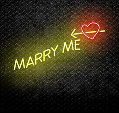 Marry Me With Crossing Heart Neon Sign