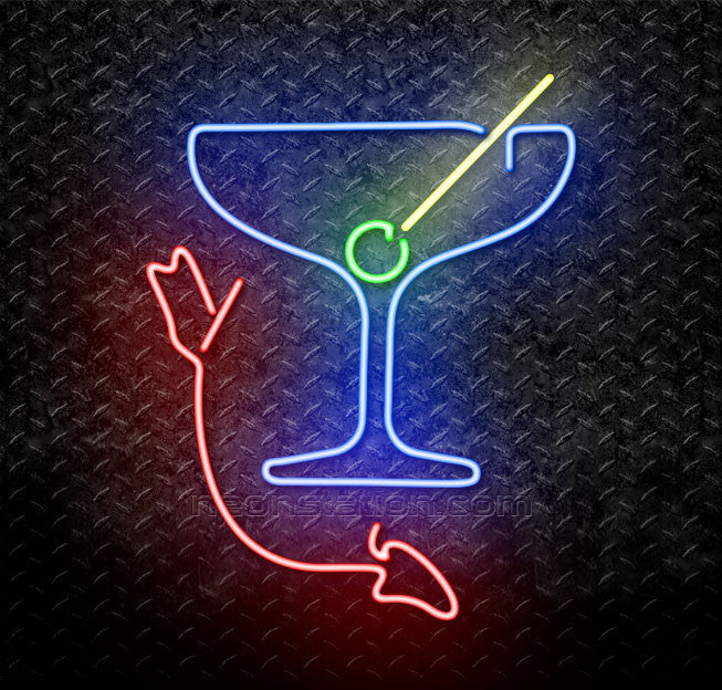 Martini Glass With Arrow Neon Sign