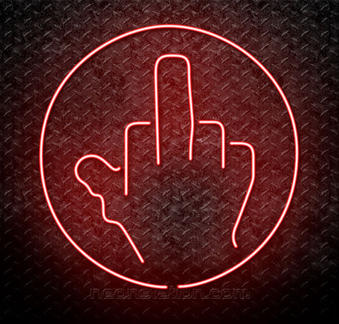 Middle Finger With Circle Fuck You Neon Sign
