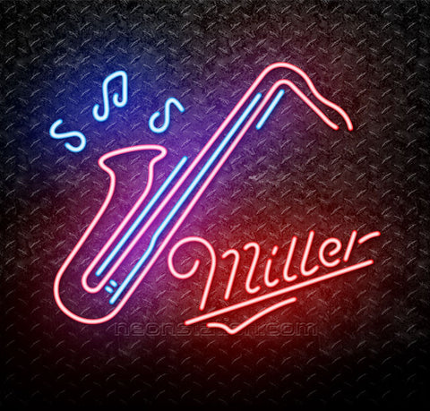 Miller Saxophone Jazz Neon Sign