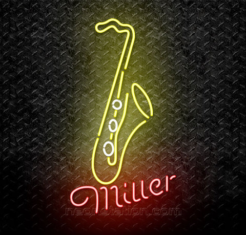 Miller Yellow Saxophone Jazz Neon Sign