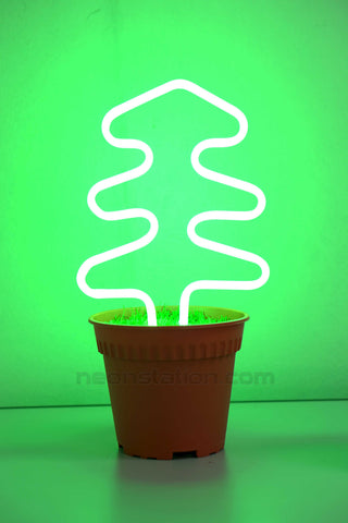 Potted Plant Christmas Tree Neon Sign