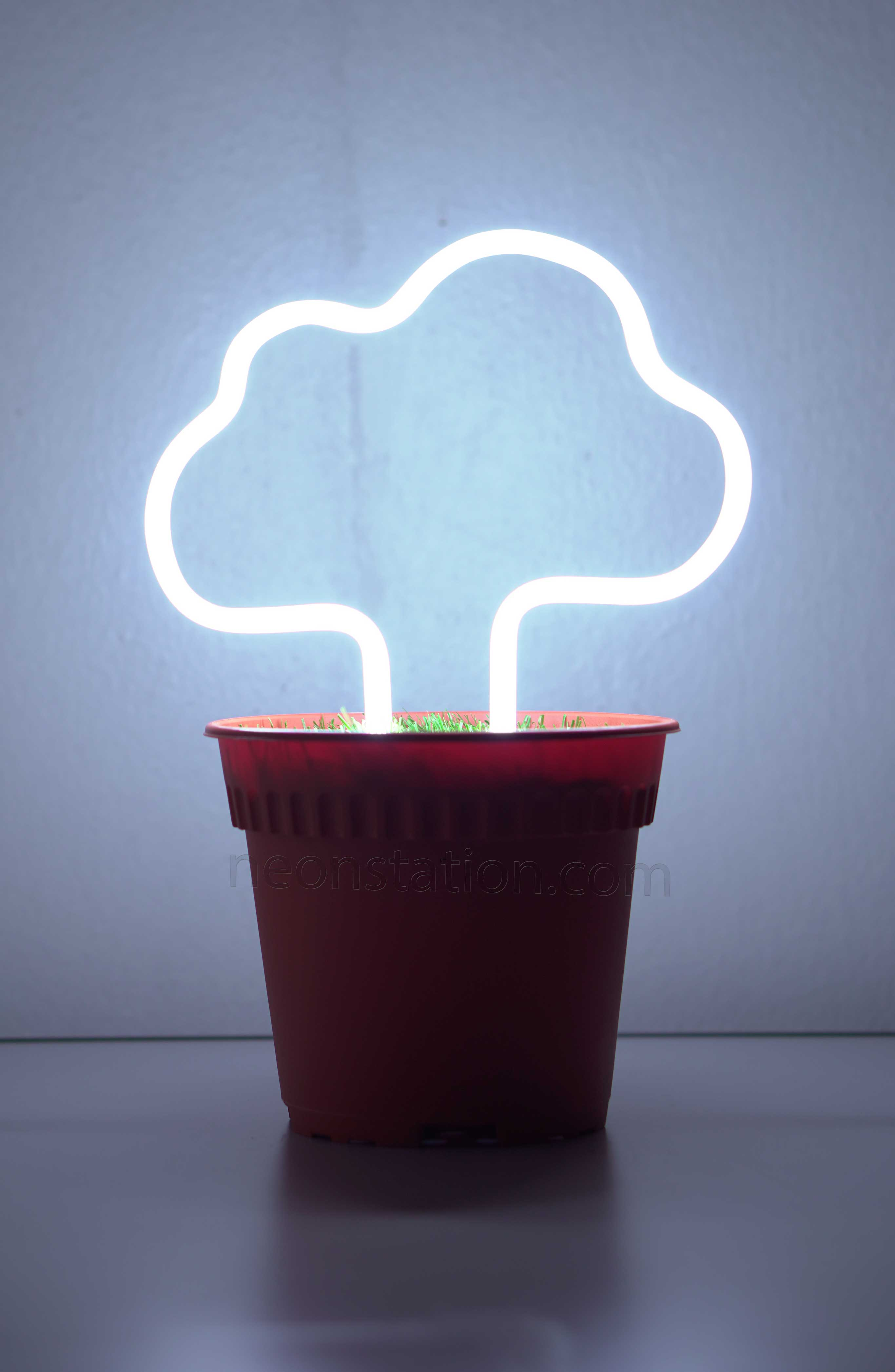 Potted Plant Cloud Neon Sign