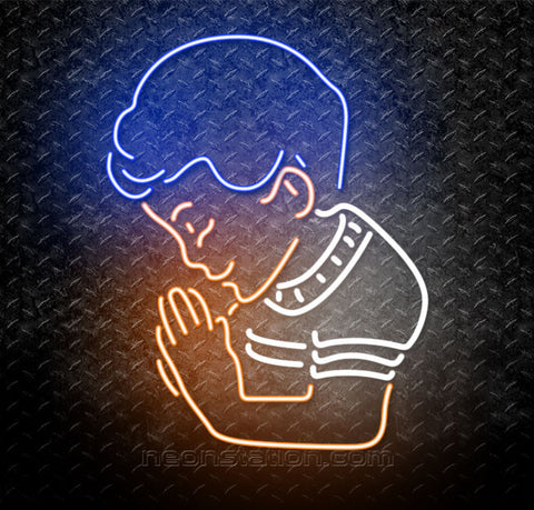 Praying Boy Buddhist Neon Sign