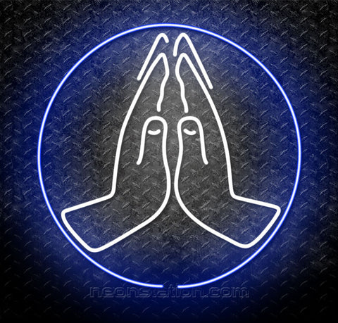 Praying Hands Logo Neon Sign