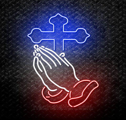 Praying Hands With Crosses Neon Sign