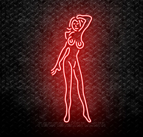 Red Night Club Girl Neon Sign