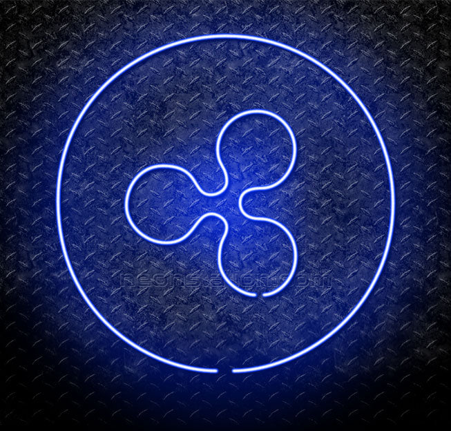 Ripple Cryptocurrency Logo Neon Sign