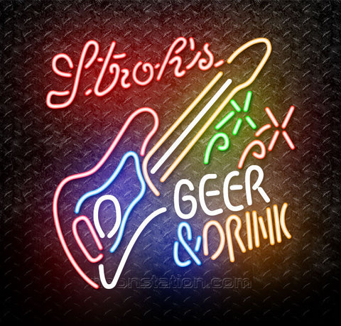 Strohs Beer And Drink Guitar Neon Sign