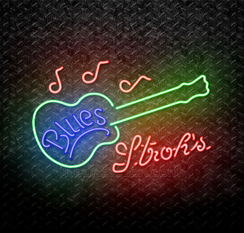 Strohs Blues Guitar Neon Sign