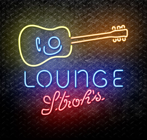 Strohs Guitar Lounge Neon Sign