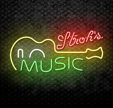 Strohs Music Guitar Neon Sign