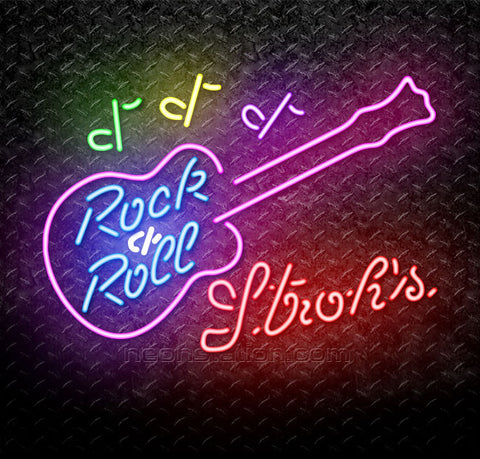 Strohs Rock N Roll Pink Guitar Neon Sign