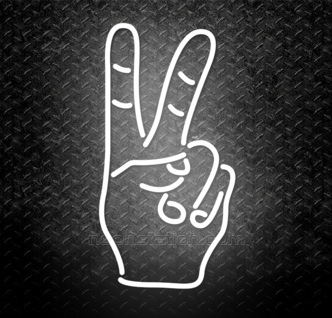 Victory And Peace Hand Neon Sign