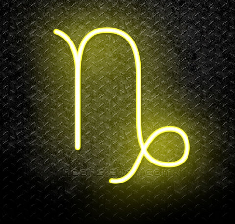 Capricorn Zodiac Horoscope Astrology Logo Neon Sign