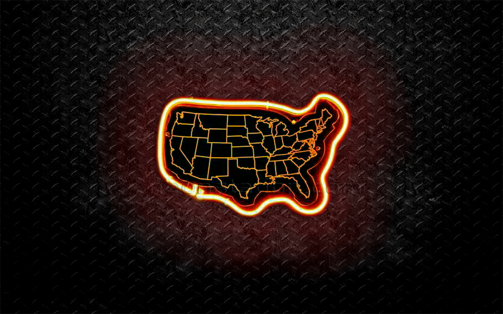 USA America 50 States 3D Neon Sign