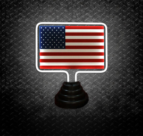 USA America Flag Table Top Neon Sign | Neonstation