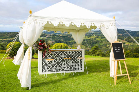service bar and white garden tent by exotic soirees luxury marquee hire