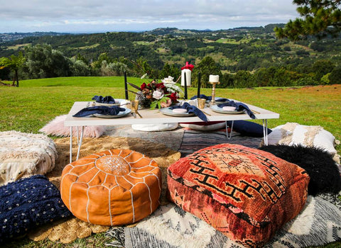 moroccan buona cushions and rugs for hire with a view by exotic soirees