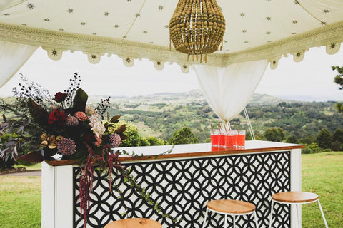 service bar and luxury cabana styled for a wedding by exotic soirees