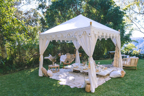 grazing table under a luxury white tent from exotic soirees brisbane