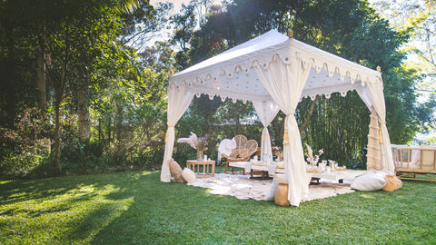 white exotic bohemian marquee for hire gold coast