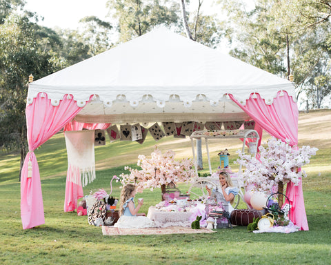 mad hatters tea party marquee and luxury pink tent to hire from exotic soirees on the gold coast