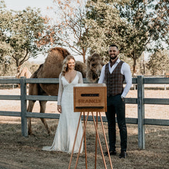 camel, bride and groom and photo booth at summer land camels