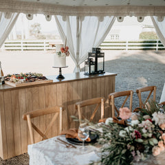 country wedding tent and marquee with bar and table