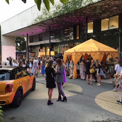 yellow mini and yellow marquee for a corporate fashion label to hire in brisbane