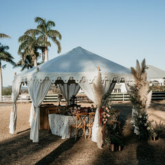 white pavilion marquee styled for a wedding in a field