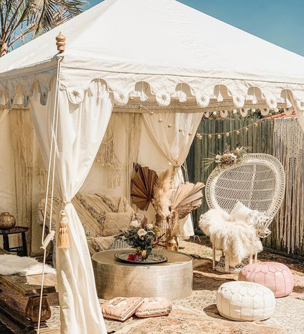 white styled arabian marquee with cushions