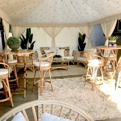 styled arabian marquee with furniture, rugs, cushions and cane ware