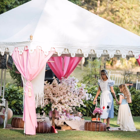 mad hatters tea party with luxury pink marquee tent for hire by exotic soirees in brisbane