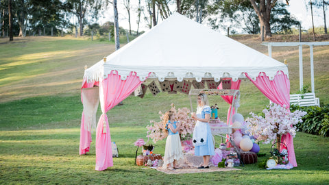 mad hatters tea party at peavine house with luxury tent for hire in brisbane
