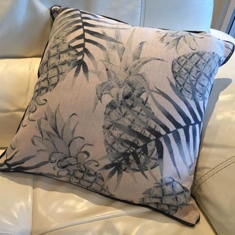 Cushions pineapple black faded image on white for hire
