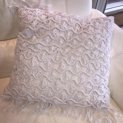 White macrame cushion for hire