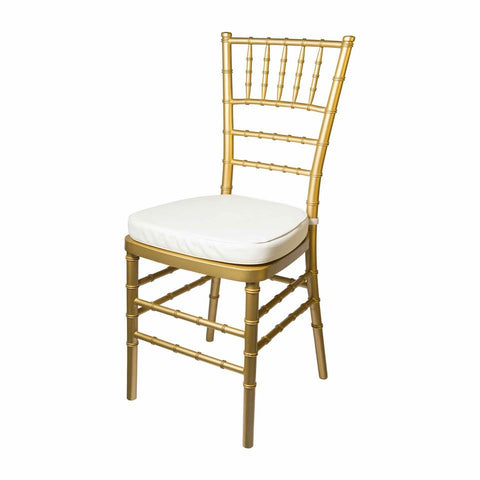 gold tiffany chair with white cushion available to hire from exotic soirees marquee hire on the gold coast