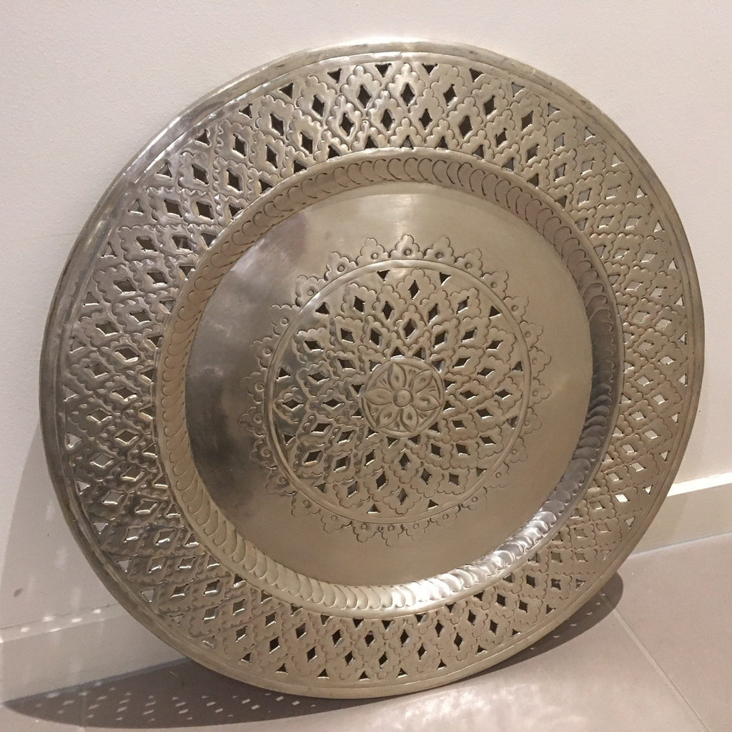 Moroccan Silver Tray round aluminium for hire