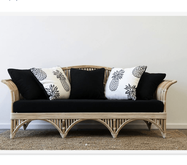 cane rattan 3 seater sofa furniture with black or white cushions
