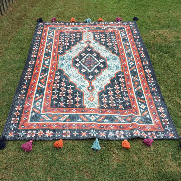 hand woven indian floor rug in multi colours