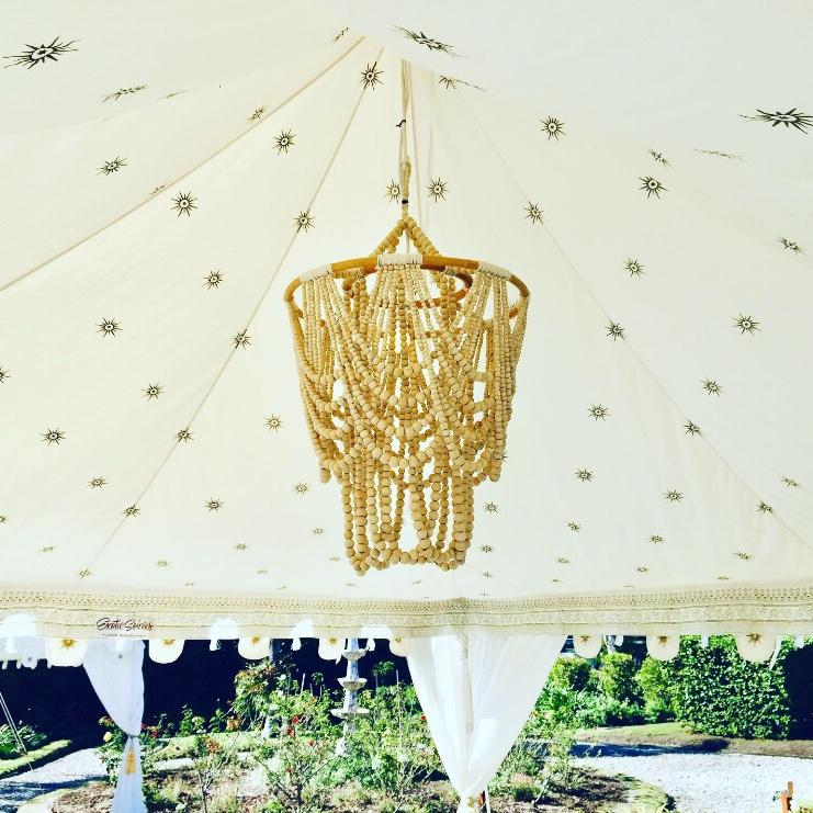 beaded white chandelier for hire