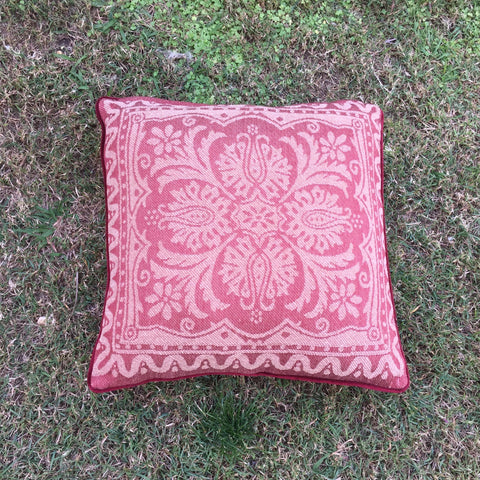 red and pink maple coloured square cushions for hire