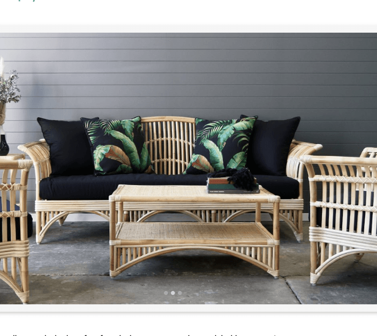 Natural cane sofa package, sofa and 3 seater, coffee table for hire