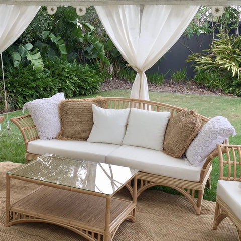 three seater cane sofa lounge