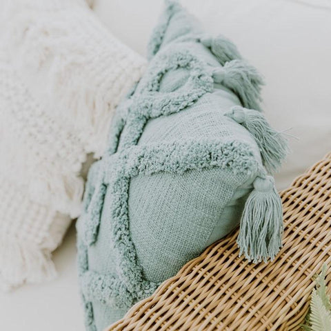 Cushions Pale Blue Tassels