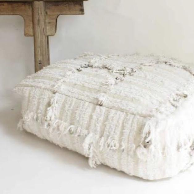 moroccan wedding blanket pouffe cushion in white